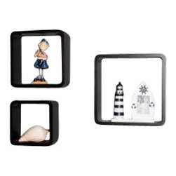 Welland - Welland Cosmos Cube Shelf Wall Displaying Shelving, Set of 3, Black - This cube shelf set will add a new and interesting element to your room and can be easily combined with other pieces to create a customized wallscape. Three shelves included. Small: 8 inches wide by 8 inches high and holds 20 pounds; Medium: 10 inches wide by 10 inches high and holds 30 pounds; Large: 12 inches wide by 12 inches high and holds 40 pounds.