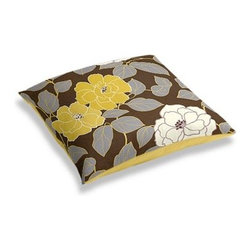 Brown & Yellow Modern Floral  Custom Floor Pillow - A couch overflowing with friends is a great problem to have.  But don't just sit there: grab a Simple Floor Pillow.  Pile em up for maximum snugging or set around the coffee table for a casual dinner party. We love it in this stylized oversized floral in modern hues of mustard and lilac gray against chocolate brown.
