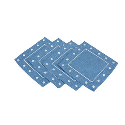 Xia Home Fashions - Polka Dot Set Of 4 Embroidered Easy Care Placemats, 6In Square, Chambray - With embroidered polka dots along the border and available in fun colors, these linens add an cute and whimsical element to any setting. Great to mix and match or for special holiday events!