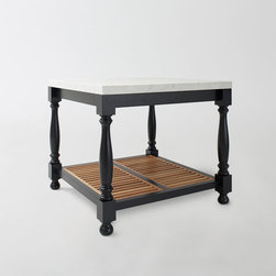 March Turned Leg Table - This portable kitchen island is an easy solution for your kitchen. Made of white oak, painted in a black Farrow and Ball paint, with a honed solid Carrera marble slab on top, it will last for many decades to come.