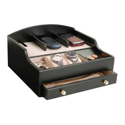 Mele & Co. - Ricardo Charging Station - Power cord not included. Three divided sections on top for electronic devices. Hidden storage for power cord. One set of ring rolls, one open section with two removable watch cushions and coin slide. One open drawer for extra storage. Gold tone drawer pulls. Hand lined with sand sueded fabric. Java finish. 12 in. W x 10.5 in. D x 5.75 in. HRicardo charging valet is a dresser top jewelry box and catch-all perfect for both him and her. This sleek and simply styled valet is the perfect staging area for the modern mobile maven.
