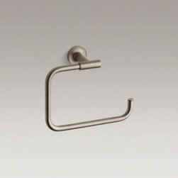 KOHLER - KOHLER Purist(R) towel ring - The minimalist design of Purist faucets and accessories complements both traditional and contemporary bath decors. This towel ring showcases a unique angular shape that echoes the elegant simplicity of the Purist Collection.