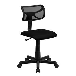 Flash Furniture - Mid-Back Black Mesh Task Chair - The ventilated mesh computer chair by Flash Furniture will provide you the comfort you desire to last throughout the day without breaking the bank. The design of this task chair is perfect in the classroom, dorm room, or home office.