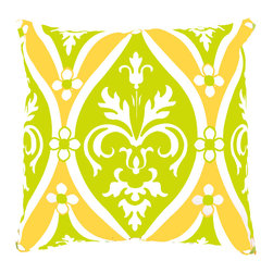 DD - Green and Orange Murano Medallion Outdoor Throw Pillow - The Murano Medallion outdoor throw pillow adds a bold and colorful vibe to your outside space.