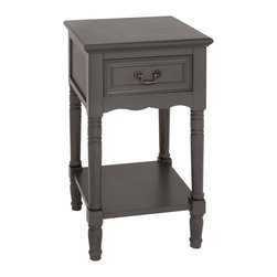 ecWorld - Urban Designs Solid Wood Night Stand Table - Grey - Inspired by late 18th-century French furnishings this nightstand captures the linearity, square shapes and painted finishes associated with that period. Crafted of solid hardwood.