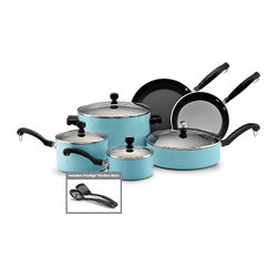 Classic Farberware 12 Piece Nonstick Cookware Set, Turquoise - I just love this color. I bought a couple of inexpensive, turquoise skillets at HomeGoods that I hang in my kitchen on hooks. They're decorative and practical space-savers.