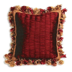 """CCCC-P-882 - Tahiti Merlot Tufted Pattern Print 18"""" x 18"""" Throw Pillow - Tahiti merlot tufted pattern print 18"""" x 18"""" throw pillow with organza tassel trim. Measures 18"""" x 18"""" made with a blown in foam and also available with feather down inserts at additional costs, search for down insert upgrade to add the up charge to your order. These are custom made in the U.S.A and take 4- 6 weeks lead time for production."""
