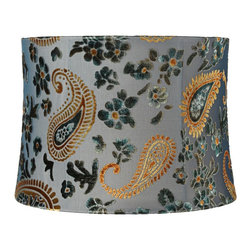 "Lamps Plus - Traditional Blue Velvet Paisley Floral Drum Shade 13x14x10 (Spider) - Featuring cut velvet on dark blue voile fabric this drum lamp shade is highlighted by its paisley and floral accents in teal and amber hues. The edges of this shade are rolled and the inside is lined with beige polyester fabric. A chrome spider fitter lets you easily move this shade from lamp to lamp and the correct size harp and finial are included free with this purchase. Softback drum lamp shade. Velvet floral and paisley accents. Dark blue voile. Rolled edges. Beige liner. Chrome spider fitter. 13"" across the top. 14"" across the bottom. 10"" on the slant.  Softback drum lamp shade.  Velvet floral and paisley accents.  Dark blue voile.  Rolled edges.  Beige liner.  Chrome spider fitter.  13"" across the top.  14"" across the bottom.  10"" on the slant."