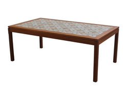Pre-owned Danish Teak and Tile Coffee Table - Danish Mid-Century Modern teak coffee table with orange and white inlay tile throughout the entire top. This piece has been newly refinished by the seller. We imagine Moroccan poufs surrounding it and a vintage decanter set full of Sangria on top!