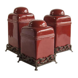 Pre-owned Trio of Ceramic Containers - Darling set of three ceramic containers. In rouge, of course.