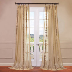 Half Price Drapes - Cleopatra Gold 50 x 108-Inch Embroidered Sheer Curtain - - HPD has redefined the construction of sheer curtains and panels. Our Embroidered Sheer Collection are unmatched in their quality. Each panel creates a beautiful diffusion of light  - Single Panel  - Non-Weighted  - Pole Pocket  - Cleaning/Care: Dry Clean Half Price Drapes - SHCH-EMBOCS3595-108