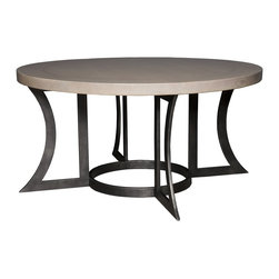Vanguard - Bordino Dining Table - Cerused Ash / Oiled Rubbed Bronze Metal (Stocked Finish)