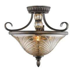 Golden Lighting - Golden Lighting Alston Place Convertible Semi-Flush - Amber glass center column adds a modern touch to this traditional style Hand-cut crystal glass emits soft brilliance and exceptional clarity Four layers of color create the unique Burnt Sienna finish Provides widespread ambient lighting reflecting light off ceiling to soften overall effect Can be mounted directly to ceiling or hung by chain