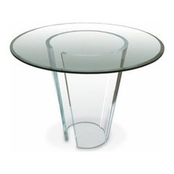 Spectrum West - Spectrum West | Conic Dining Table - Design house Spectrum West is committed to creating high quality acrylic furniture designs that are functional, artistic, modern, strong, fluid and beautiful. The Conic Dining Table works as an unforgettable form in a variety of settings from traditional, to eclectic, to modern. To ensure sustainability, a majority of the designs are fabricated from a single sheet of acrylic and are run through a laser cutter to prevent mistakes in proportions. Each design is sanded, buffed and polished by hand to ensure lasting quality. Designer Stanley J. Friedman's Conic series features tables as a study in the geometric conic section. This circular dining table celebrates the intersection of form and precision. Spectrum West uses only the finest quality of acrylic - domestically manufactured by Polycast Technology Corporation. Because Polycast acrylic sheets are of such exceptional quality, Spectrum West guarantees that every piece of furniture they manufacture will have the highest degree of optical clarity. Pieces will never yellow, become milky or cloudy. Their cast acrylic sheets are strong, stable, and weather resistant. Acrylics withstand exposure to light from fluorescent lamps without darkening or deteriorating. Eco-friendly? Yes! Spectrum West cast acrylic sheets are lightweight, reducing energy usage and transportation costs; easy to work with, conserving resources and manpower; and low-maintenance, offering extended product life with little or no maintenance. Acrylics minimize mold and reduce contamination with their inherent moisture and air barriers. Spectrum West insures that their acrylic manufacturer actively recycles acrylic. And products are recyclable or may contain recycled content.