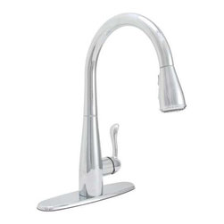 PREMIER - Premier 284452 Sanibel Lead-Free Single-Handle Pull-Down Kitchen Faucet, Chrome - # Ceramic disc cartridge for superior performance Three-function pull-down spray head: stream, spray, and pause Chrome finish Includes optional deck plate for three-hole sink installations Matching soap dispenser sold separately (Premier models 552028, 120442, 284462, 284459, or 284456) kitchen; faucet; pull down; single handle; lead free