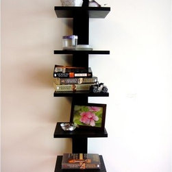 Spine Decorative Wall Shelf - Display your photos, stack your books, or light a candle on this Spine Decorative Wall Shelf. Featuring a simple but modern look that utilizes five shelves, this space saver is easy to assemble and install off the ground and against any wall in the house. The shelf is available in black or white and measures just over three feet tall and each of the five shelves measures just under 10 inches wide..