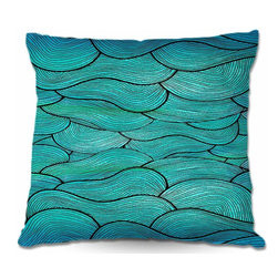 DiaNoche Designs - Pillow Linen - Sea Waves Pattern - Add a little texture and style to your decor with our Woven Linen throw pillows. The material has a smooth boxy weave and each pillow is machine loomed, then printed and sewn in the USA.  100% smooth poly with cushy supportive pillow insert with a hidden zip closure. Dye Sublimation printing adheres the ink to the material for long life and durability. Double Sided Print, machine wash upon arrival for maximum softness. Product may vary slightly from image.