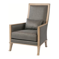 Kathy Kuo Home - Riley Contemporary Steel Gray Linen High Back Accent Chair - From Belgian to modern to country chic, your rooms will get a luxe lift from this chair. The expertly constructed wood frame shows off its natural side, peeking through the arms, legs and around the back. And on the softer side, the gray linen upholstery envelops you in chic comfort.