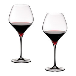 Riedel - Riedel Vitis Pinot Noir Glasses - Set of 2 - Lead crystal launched in 2007. Recommended for: Barbaresco, Barolo, Beaujolais Nouveau, Blauburgunder, Burgundy, Echézeaux, Gamay, Moulin � vent, Musigny, Nebbiolo, Nuits Saint Georges, Pinot Noir, Pommard, Romanée Saint Vivant, Rotgipfler, Santenay, Sp�trot-Rotgipfler, Volnay, Vosne-Romanée, Vougeot.