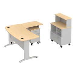 "Bush - Bush Sector 60"" L-Shape Curved Desk with Storage in Natural Maple - Bush - office Sets - SEC007AC - Room to spare plus everything you need to get started. Bush SECTOR Series Suite 7AC in Natural Maple with 60""W x 60""D Curved L Desk with filing drawer and 30""W x 20""D Curved Return Work Surface brings everyone together. Stylish yet affordable workstation L-desks and returns are easily reconfigurable. Metal-to-metal connections allow repeated attaching and detaching without joint fatigue. Includes two covered ports for cord and cable management. Four-gang USB hub allows quick connections for recharging phones or connecting peripherals. Straight-leg kit has raceway under desk front and back grommets and removable side leg panel to allow hiding of unsightly cords and cables. Bush Mobile Pedestal (B/F) fits any open collaborative space. One box drawer for supplies and one full extension file drawer hold letter- legal-and A4-size files. Sized to nest conveniently under desk surfaces. Mobile Piler/Filer combines a cubby a flat shelf/inbox and a file drawer for extra versatility. Adaptable 30""W Vertical Storage Shelf adds space and works with Bush 30""W Mobile Piler/Filer. Rugged Diamond Coat top surface blends with other Sector pieces, resists marking, staining and abrasions. Includes Bush 10-year warranty."