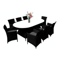 "Reef Rattan - Reef Rattan Montserrat 9 Pc Dining Set - Black Rattan / Grey Cushions - Reef Rattan Montserrat 9 Pc Dining Set - Black Rattan / Grey Cushions. This patio set is made from all-weather resin wicker and produced to fulfill your needs for high quality. The resin wicker in this patio set won't fade, shrink, lose its strength, or snap. UV resistant and water resistant, this patio set is durable and easy to maintain. A rust-free powder-coated aluminum frame provides strength to withstand years of use. Sunbrella fabrics on patio furniture lends you the sophistication of a five star hotel, right in your outdoor living space, featuring industry leading Sunbrella fabrics. Designed to reflect that ultra-chic look, and with superior resistance to the elements in a variety of climates, the series stands for comfort, class, and constancy. Recreating the poolside high end feel of an upmarket hotel for outdoor living in a residence or commercial space is easy with this patio furniture. After all, you want a set of patio furniture that's going to look great, and do so for the long-term. The canvas-like fabrics which are designed by Sunbrella utilize the latest synthetic fiber technology are engineered to resist stains and UV fading. This is patio furniture that is made to endure, along with the classic look they represent. When you're creating a comfortable and stylish outdoor room, you're looking for the best quality at a price that makes sense. Resin wicker looks like natural wicker but is made of synthetic polyethylene fiber. Resin wicker is durable & easy to maintain and resistant against the elements. UV Resistant Wicker. Welded aluminum frame is nearly in-destructible and rust free. Stain resistant sunbrella cushions are double-stitched for strength and are fully machine washable. Removable covers made with commercial grade zippers. Tables include tempered glass top. 5 year warranty on this product. Oval Table: W 55"" D 35"" H 28"", Chairs (8): W 24"" D 24"" H 33"""