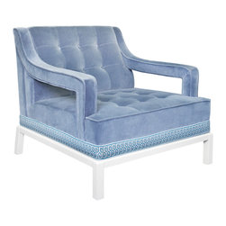 Jonathan Adler - Jonathan Adler Doris Arm Chair - A Palm Beach aesthetic defines Jonathan Adlers Doris armchair. With a lacquered white frame and custom geometric trim, this cool blue velvet seat exudes contemporary style. 100% cotton cool blue velvet upholstery; Lacquered white glossy frame