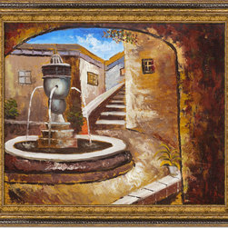 overstockArt.com - Private Courtyard - Private Courtyard is a remarkable oil painting with exceptional use of color, detail and brush strokes to give you a grand interpretation of an old Mediterranean city. Imagine an afternoon lunch on these old stone steps, with this private courtyard in your view. Enjoy that memorable feeling everyday with this hand painted creation of the Mediterranean at it's best.