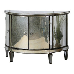 Uttermost - Uttermost Sainsbury Mirrored Console Cabinet - Sainsbury Mirrored Console Cabinet by Uttermost Vintage, Demilune Shape Given A Fresh Face Of Curved Mirrors Around The Antique Bronze, Solid Birch Frame. Four Cabinet Doors Are Accented With Chrome Ring Pulls.