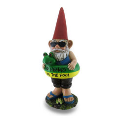 Zeckos - Pool Monitor Gnome Statue No Peeing in The Pool - Not just a gnome, this pool monitor let's your family and guests know there's to be 'No Peeing in The Pool' Ready for a swim with his pool float and sunglasses on, this 16.5 inch high, 6 inch long, 6 inch wide (42 X 15 X 15 cm) cast resin gnome statue is expertly hand-painted from his pointy hat and full beard to his flip-flop wearing feet He's a whimsical addition for the pool area, and makes a fun gift sure to be enjoyed