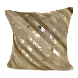 Design Accents LLC - Design Accents Leather Pillow - Beige / Gold - SGC106DIAGONALSTRIPE20X20BEIGEGOL - Shop for Pillows from Hayneedle.com! The elegant tonal style and shiny accents give the Design Accents Leather Pillow - Beige / Gold a regal appearance. Made of leather and velvet for a luxurious texture this fashion-forward pillow has a contemporary striped pattern. Available in various sizes it's the perfect accessory for your sofa chair or bed.