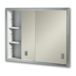 Contempora Recessed Medicine Cabinet - Stainless Steel - This sleek and simple sliding door medicine cabinet is the perfect addition to any home. The Contempora Recessed Medicine Cabinet will provide you with ample storage space and two adjustable shelves for customization.