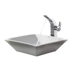 Kraus - Kraus White Square Ceramic Sink and Illusio Faucet Chrome - *Add a touch of elegance to your bathroom with a ceramic sink combo from Kraus