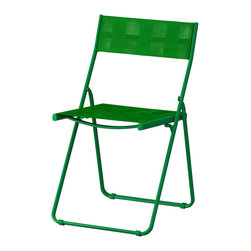 Härö Folding Chair, Green - This foldable chair in emerald is perfect extra seating for events and parties.