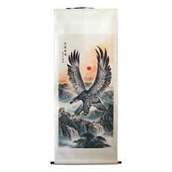 "Oriental-Decor - 69"" Alighting Eagle Chinese Scroll Painting - The eagle is the mythological god of the sky and represents strength and heroism in most cultures across the world. The eagles was seen as a divine symbol and depicted as such in art pieces across the world. This stunning 69-inch Chinese scroll painting features the magnificent eagle flying over a mountainous landscape with a red sun low on the horizon. The eagle has its awesome wings extended up, while it looks below, scanning the terrain for its prey. If you have a large space on your wall or you just want to create an amazing display in your room, this extra large Chinese scroll painting is for you. Only a couple left in stock."
