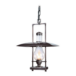 """Troy - Country - Cottage Dakota Collection 26 1/4"""" High Outdoor Hanging Light - The Dakota outdoor collection from Troy Lighting illuminates your exterior with refined rustic glamour. This hanging light design builds on the hurricane lantern aesthetic adding sleek materials and graceful lines. Crafted from solid brass and presented in an English bronze finish. Clear seeded glass adds extra appeal. An attractive design for lighting your outdoor spaces. Solid brass construction. English bronze finish. Clear seeded glass. Takes one 100 watt bulb (not included). 26 1/4"""" high. 17 1/2"""" wide.  Solid brass construction.  English bronze finish.  Clear seeded glass.  From the Troy Lighting collection.  Takes one 100 watt bulb (not included).  Damp location rated only.  26 1/4"""" high.  17 1/2"""" wide."""