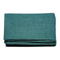Canvas Solid Alpaca Throw Blankets - Teal with Turquoise Stitch