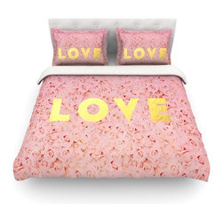 "Kess InHouse - Leah Flores ""Love Roses"" Pink Flowers Cotton Duvet Cover (King, 104"" x 88"") - Rest in comfort among this artistically inclined cotton blend duvet cover. This duvet cover is as light as a feather! You will be sure to be the envy of all of your guests with this aesthetically pleasing duvet. We highly recommend washing this as many times as you like as this material will not fade or lose comfort. Cotton blended, this duvet cover is not only beautiful and artistic but can be used year round with a duvet insert! Add our cotton shams to make your bed complete and looking stylish and artistic! Pillowcases not included."
