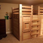 The Bed Fort Locked Up - Built From Queen Loft Bed Plans - Get simple DIY plans to build your own Bed Fort for $25 or, if you're in the Charleston, SC area, I can build it for you! http://palmettobunkbeds.com