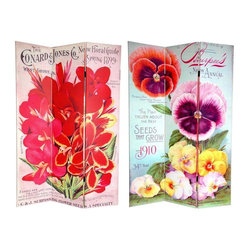 Oriental Furniture - 6 ft. Tall Double Sided Flower Seeds Canvas Room Divider - Pansies - Embrace your inner gardener with two lovely paintings from turn of the century seed catalogs. The front image is from the Conrad Jones Co.  New Floral Guide, Spring 1899  featuring brilliant red irises. The picture on the back is from W. A. Burpee Company's 1910 catalog mantled by a myriad of floral shapes and colors. These intriguing works of vintage commercial graphic art, with compelling interior design elements will make the perfect addition to your living room, bedroom, dining room, or kitchen. This three panel screen has different images on each side, as shown.High quality wood and fabric covered room divider. Constructed with extra durable kiln dried Spruce wood frame panels, and covered top to bottom, front, back, and edges with tough stretched poly-cotton blend canvasTwo extra large beautiful art prints. Printed with fade resistant, high color saturation ink, creating two stunning, long lasting, vivid images. A powerful visual focal points for any roomAn amazingly inexpensive, practical, portable decorative accessory. Almost entirely opaque, the layers of canvas provide complete privacy. Easily block light from a bedroom window or doorwayGreat home decor accent for dividing a space, redirecting foot traffic, hiding unsightly areas or equipment, or for providing a background for plants or sculptures, or use to define a cozy, attractive spot for table and chairs in a larger roomPanels are double hinged, to bend in either direction