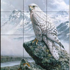 The Tile Mural Store (USA) - Tile Mural - Northern Goshawk - Kitchen Backsplash Ideas - This beautiful artwork by Alan Hunt has been digitally reproduced for tiles and depicts a Goose Hawk overlooking a mountain range.  Images of birds of prey on tiles are great to use as a part of your kitchen backsplash tile project or your tub and shower surround bathroom tile project. Pictures of eagles on tile and images of owls on tiles make a great kitchen backsplash idea and are excellent to use in the bathroom too for your shower tile project. Consider a tile mural of hawks and eagles for any room in your home where you want to add interest to a plain tile wall area.
