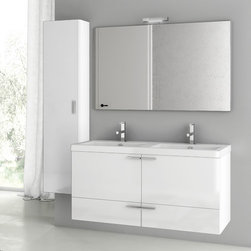 ACF - 47 Inch Glossy White Bathroom Vanity Set - Set Includes:. Vanity Cabinet (2 Doors,2 Drawers). High-end fitted ceramic sink. Wall mounted vanity mirror. Tall storage cabinet. Vanity Set Features . Vanity cabinet made of engineered wood. Cabinet features waterproof panels. Vanity cabinet in glossy white finish. Cabinet features 2 doors, 2 soft-closing drawers. Faucet not included. Perfect for modern bathrooms. Made and designed in Italy. Includes manufacturer 5 year warranty.