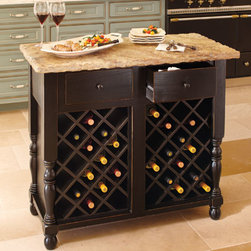 Oakmont Kitchen Island, Wine Storage Base - Looking for a place to store your wine? No need to invest in an expensive wine cellar — just put your best bottles on display right under this portable kitchen island.
