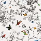 Birds and Butterflies Wallpaper by Schumacher - This colorful, whimsical wallpaper brings a touch of the outdoors into any bedroom, living room or dining room. It works great as an accent wall!