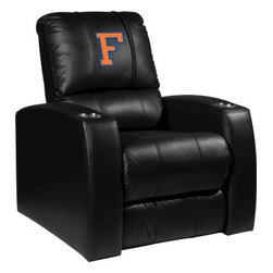 Dreamseat Inc. - University of Florida NCAA Block F Home Theater Leather Recliner - Check out this Awesome Leather Recliner. Quite simply, it's one of the coolest things we've ever seen. This is unbelievably comfortable - once you're in it, you won't want to get up. Features a zip-in-zip-out logo panel embroidered with 70,000 stitches. Converts from a solid color to custom-logo furniture in seconds - perfect for a shared or multi-purpose room. Root for several teams? Simply swap the panels out when the seasons change. This is a true statement piece that is perfect for your Man Cave, Game Room, basement or garage. It combines contemporary design with the ultimate comfort from a fully reclining frame with lumbar and full leg support.