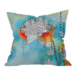 DENY Designs - Iveta Abolina Coral Throw Pillow, 20x20x6 - Unleash your inner hippie-geisha with this pillow. The detailed, black stylized flowers and leaves pop against a brightly colored background reminiscent of Japanese silkscreen — or Woodstock posters. It's printed front and back on woven polyester and comes with the pillow insert. Wax on, right on.