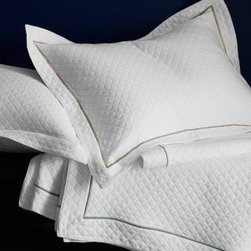 Garnet Hill - Garnet Hill Pima Cotton Matelasse Coverlet - Queen - White/Silver Green - This luxurious midweight matelasse coverlet is crafted from pure extra-long-staple pima cotton and finished with a border of contrast embroidery for a timelessly elegant look. Resort-quality bedding for the home. Coverlet has a wide hem and is designed to drape below the edge of the mattress; accommodates mattresses up to 15 in thick. Sham has matelasse front and back, and a wide flange.