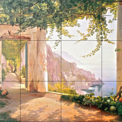 The Tile Mural Store (USA) - Tile Mural - Amalfi Dia Cappuccini - Kitchen Backsplash Ideas - This beautiful artwork by Carl Frederic Aagaard has been digitally reproduced for tiles and depicts the Amalfi Dia Cappuccini. Italy's brilliant coastal sunlight sifts through cascades of vines in Carl Frederik Aagaard's Amalfi Dia Cappuccini. Conveying realism in his landscape oil paintings, Aagaard (1833 to 1895) was a highly influential artist during Copenhagen's Golden Age. He studied drawing at the Danish Royal Academy, taught by many of the country's most famous artists, and was particularly inspired by landscape oil painter Peter Kristian Skoovgaard.   Our kitchen tile murals are perfect to use as part of your kitchen backsplash tile project. Add interest to your kitchen backsplash wall with a decorative tile mural. If you are remodeling your kitchen or building a new home, install a tile mural above your stove top or install a tile mural above your sink. Adding a decorative tile mural to your backsplash is a wonderful idea and will liven up the space behind your cooktop or sink.