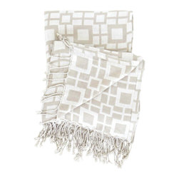 Pine Cone Hill - PCH Sugari Check Platinum/White Throw - Accent a sofa or bed in modern style with the graphic checkerboard pattern and neutral palette of the Sugari throw. Luxurious and sophisticated, this reversible fringed decorative blanket from PCH invites relaxation and comfort. 50��_ x 70��_; Platinum and white; 100% viscose; Machine wash cold, tumble dry low; Fabric softens with each wash; Designed by Pine Cone Hill, an Annie Selke company