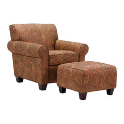 PORTFOLIO - Portfolio Mira 8-way Hand-tied Paisley Arm Chair and Ottoman - This Portfolio Mira chair and ottoman set is made from hardwood and upholstered in stunning printed fabric. The set features a thick foam back cushion for ultimate comfort.