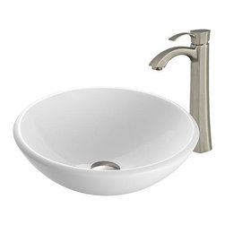 Vigo Industries - Round Vessel Sink with Faucet - Phoenix Stone is a revolutionary new blend of crystallized glass and stone resulting in a highly durable complex material.